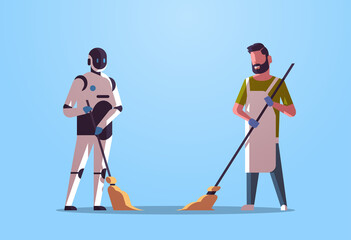 Wall Mural - robotic janitor with man cleaner sweeping and cleaning robot vs human standing together artificial intelligence technology concept flat full length horizontal vector illustration
