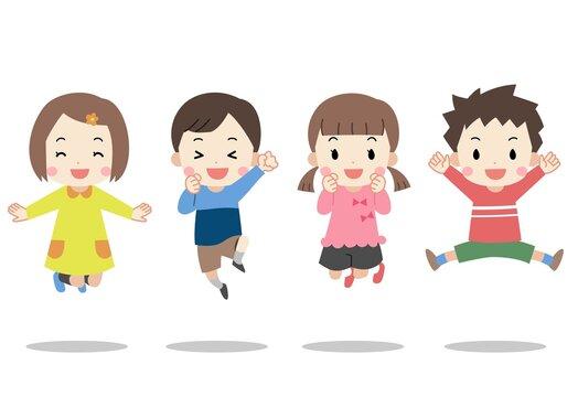 ジャンプする笑顔の子供たち 主線なし