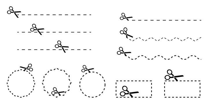 Scissors seam shapes. Paper cut design template. Vector illustration design. Outline symbol. Stock image. EPS 10.