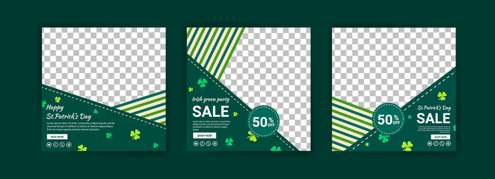 Collections of social media post templates for St.Patrick's Day, sales promotions on St. Patrick's day and have a lucky day.