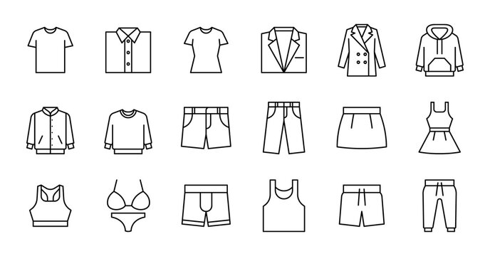 Outline Clothing Icons