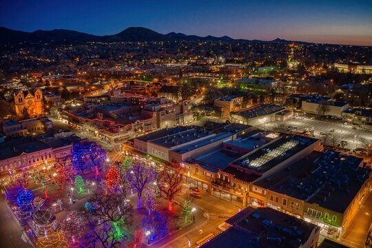 Aerial View of Santa Fe, New Mexico at Dusk during Christmas