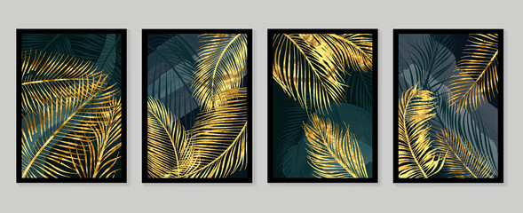 Fototapeta Botanical wall art vector set. Golden foliage line art drawing with  abstract shape.  Abstract Plant Art design for wall framed prints, canvas prints, poster, home decor, cover, wallpaper. obraz