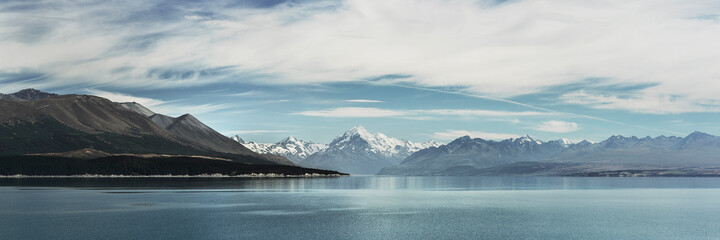 New Zealand Landscape. Mt Cook New Zealand. Mountain Lake Panorama Landscape Banner Background. Aoraki Mt Cook Lake Pukaki Mountains New Zealand