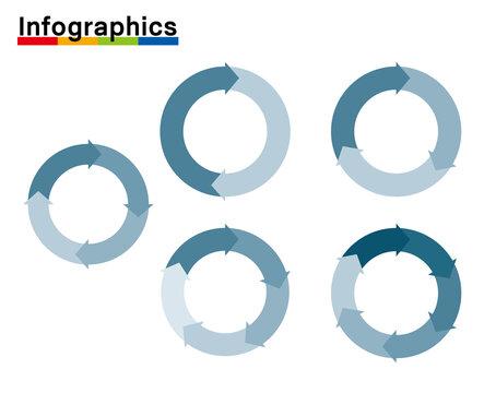 インフォグラフィックスイラストセット|分割円と矢印のチャート図PDCAビジネスプロセス経営