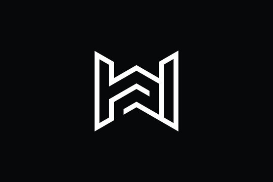 WH logo letter design on luxury background. HW logo monogram initials letter concept. WH icon logo design. HW elegant and Professional letter icon design on black background. H W WH HW