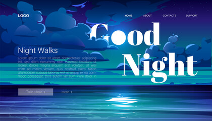 Night walks banner. Travel tour of evening walking on ocean beach. Vector landing page with cartoon summer landscape with sea, coastline and clouds on midnight sky Wall mural