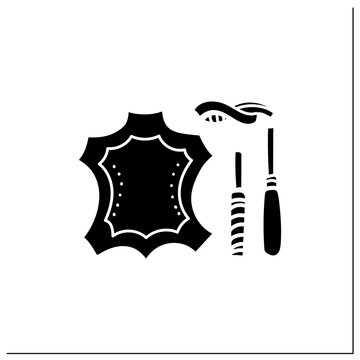 Leatherworking glyph icon. Leather material and instruments. Creative hobby. Handmade concept. Filled flat sign. Isolated silhouette vector illustration