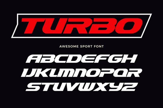 Turbo font. Heavy italic letters, modern type for sport logo, speed race headline, dynamic monogram, lettering and typography. Bold wide style letters, vector typographic design