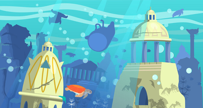 Vector illustration of  sunken city of Atlantis with bathyscaphe, underwater animals  and rocks on the background.
