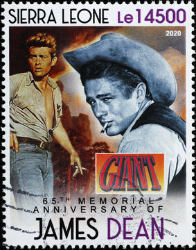 Portrait of James Dean on postage stamp