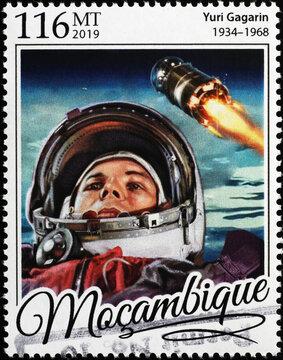 Cosmonaut Yuri Gagarin on postage stamp of Mozambique