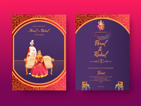 Front And Back View Of Indian Wedding Invitation Card With Hindu Couple Character In Traditional Dress.
