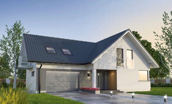 New family house, exterior view - 3d illustration