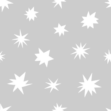 Star quirky shapes vector seamless pattern. Cosmic starry paper cut silhouette neutral grey baby background design. Abstract celestial geometric space childish fabric print