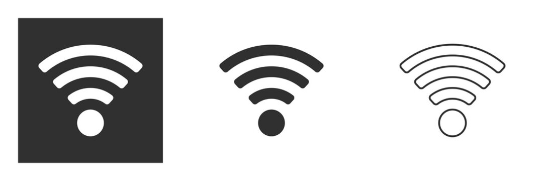 Wireless and wi-fi icon or wi-fi icon sign for remote internet access, vector illustration isolated on white background