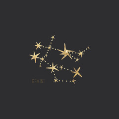 Fototapeta vintage vintage retro engraving style. zodiac sign and astrology. printing on gold foil obraz