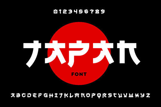 Japanese style Latin font design, alphabet letters and numbers