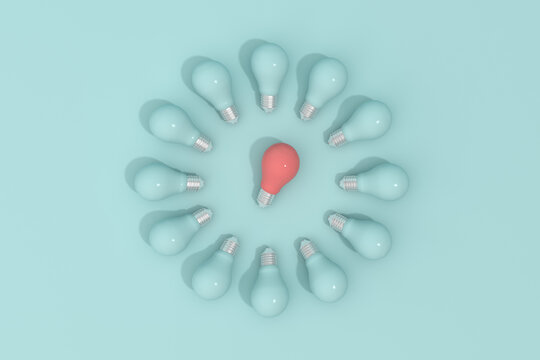 Red light bulb surrounded by circle bulbs , Minimal concept, 3d rendering.