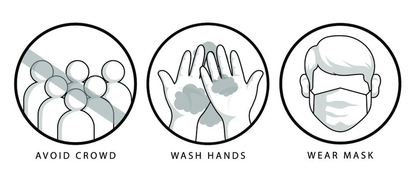 Wash hands, avoid crowd, wear mask corona preventing methods. web icons vector isolated on white background.
