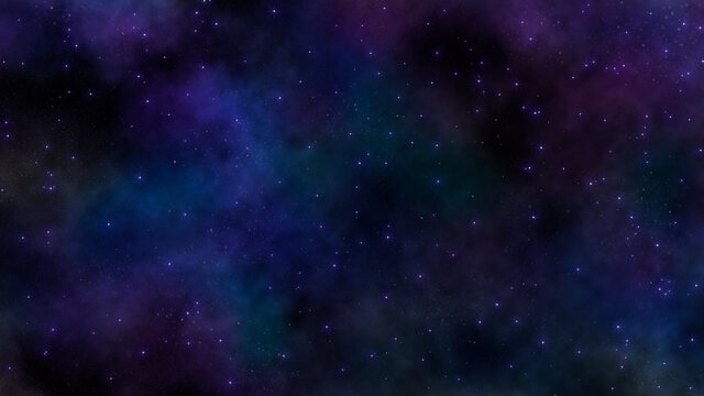 8K starfield with blue and violet gaseous nebula cloud. artist rendition of starry background in outerspace.