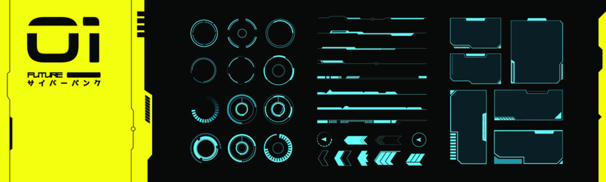 Set of VR elements. Collection of interface objects in cyberpunk style. Futuristic design for your application, software, framework. Future vector objects from 2077.