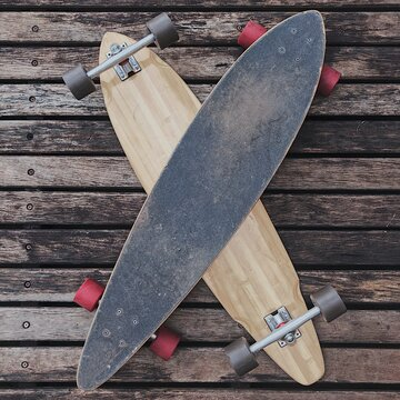 Directly Above Shot Of Longboard On Table