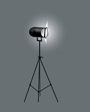 Realistic spotlights with gray background for show contest or interview vector illustration. Photography studio. Illuminated effect form projector, projector for studio illumination