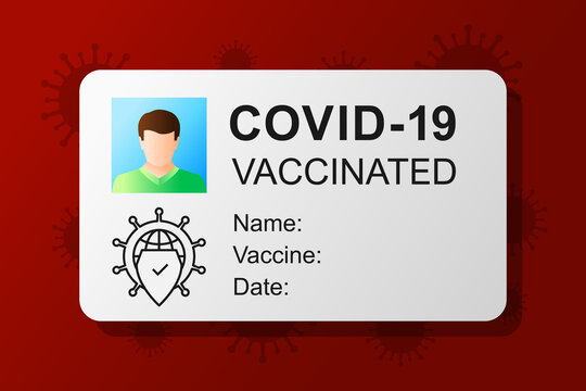 Vaccination pass or card. COVID-19 and certificate concept with documentation as proof of getting vaccinated. Shield as vaccine symbol and being immune against coronavirus.