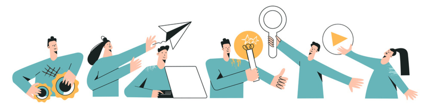 Set of remote team characters modern flat vector illustration. Global cyberspace, distributed teamwork, collaboration, network, global outsourcing