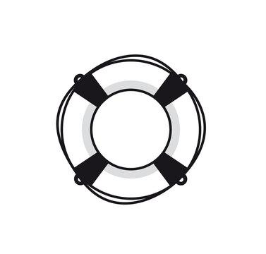 Lifebuoy. Vector illustration. Black icon