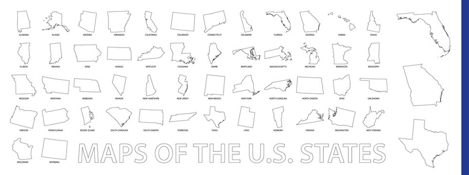 Maps of The US State, Outline maps collection.