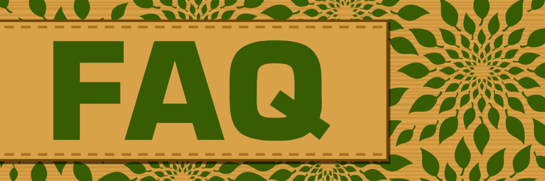 FAQ - Frequently Asked Questions Green Brown Leaves Circular Box Text