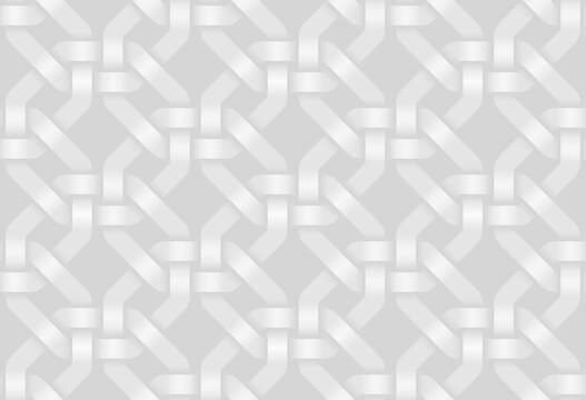 Vector seamless pattern of woven octagonal shaped bands. White texture illustration.