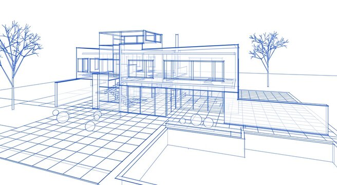 modern small architecture sketch 3d illustration