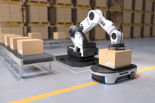 The Robot arm picks up the box to Autonomous Robot transportation in warehouses, Warehouse automation concept