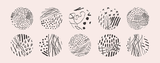 Hand drawn set with round isolated abstract black patterns or backgrounds
