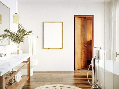 Poster, wall mockup in white cozy bathroom interior background, 3d render