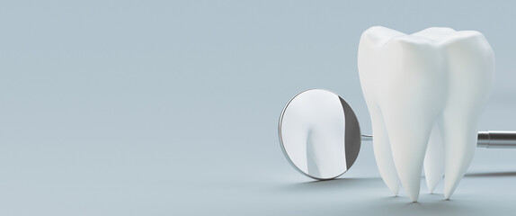 Obraz Close-up Of Mirror And Model Tooth Against White Background - fototapety do salonu