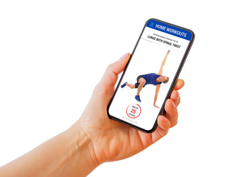 Person holding phone with home workouts fitness app where instructor demonstrates workout exercises