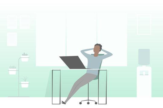 Rest break in office. Vector illustration.