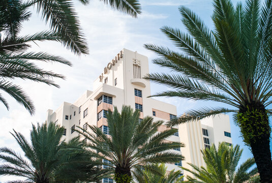 Miami Beach, Florida, United States - July 7 2012: St. Moritz Tower Highrise, home to Loews Miami Beach Hotel, situated in the Historic Art Deco District of Miami. Designed by Roy F. France in 1939.