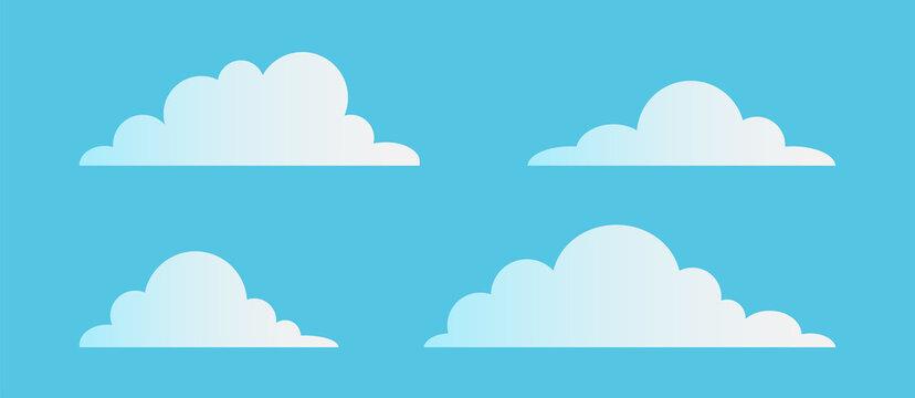 Clouds flat collection. Vector illustration. Cartoon cloud or sky set.