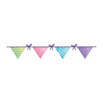 happy birthday triangles garlands hanging acuarela style vector illustration design