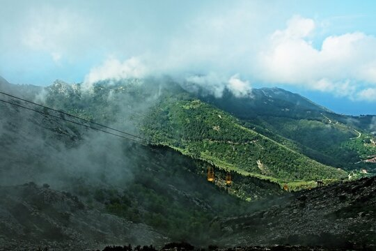 Italy-view of the cableway to the top of Monte Capanne on the island of Elba