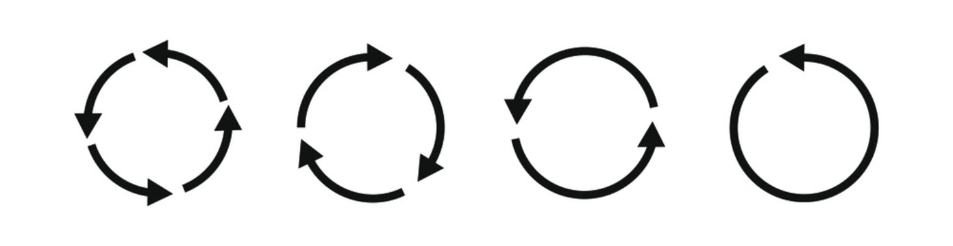 Set of recycle icon. Reuse symbol. Recycling and rotation arrow icon.