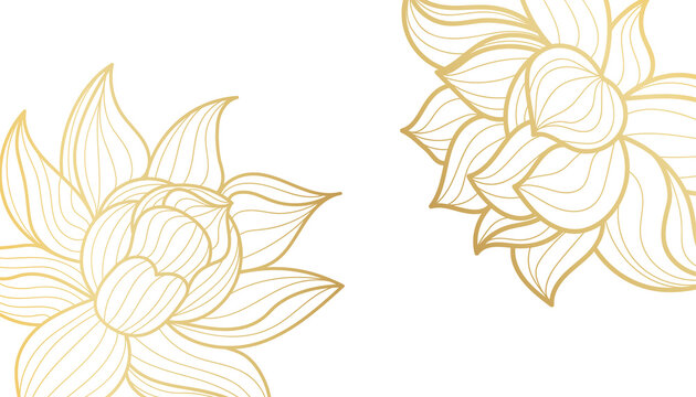 Golden lotus, line art background on white background. Design for wallpaper, poster, cover. Vector illustration.