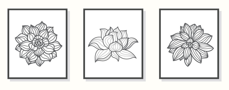 Lotus line art hand draw black lotus flower. Cover, banner, wall art, black geometric pattern design. Vector cover design template. Isolated on white background.