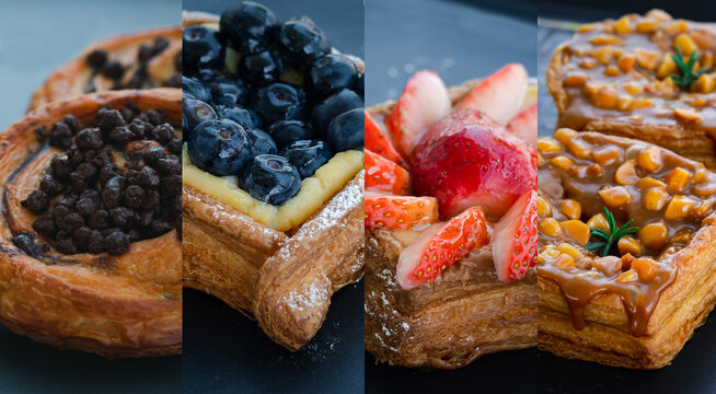 Danish Pastry set blueberry, strawberry ,chocolate and caramel macadamia serve on the black table in a cafe or coffee shop. use for breakfast bakery menu