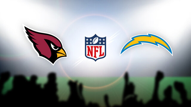 NFL Arizona Cardinals vs Los Angeles Chargers vector illustration.